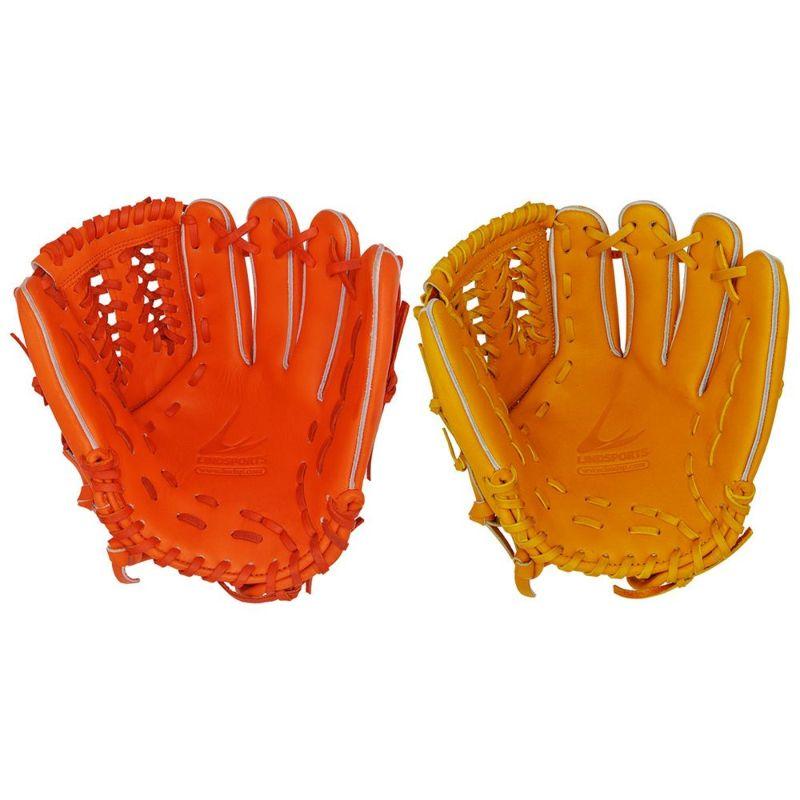 ソフトボール用 北米ステアハイド 内野手グローブネットウェブ 女性向け 右投用/左投用 オレンジ/イエロー